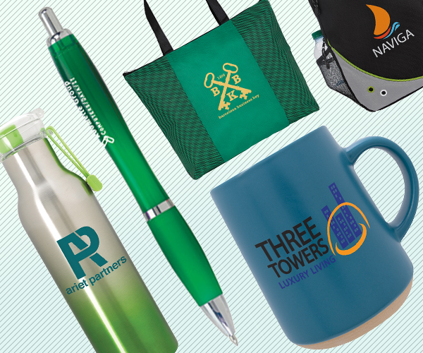 Collage of branded promotional products including bottle, pen,, mug