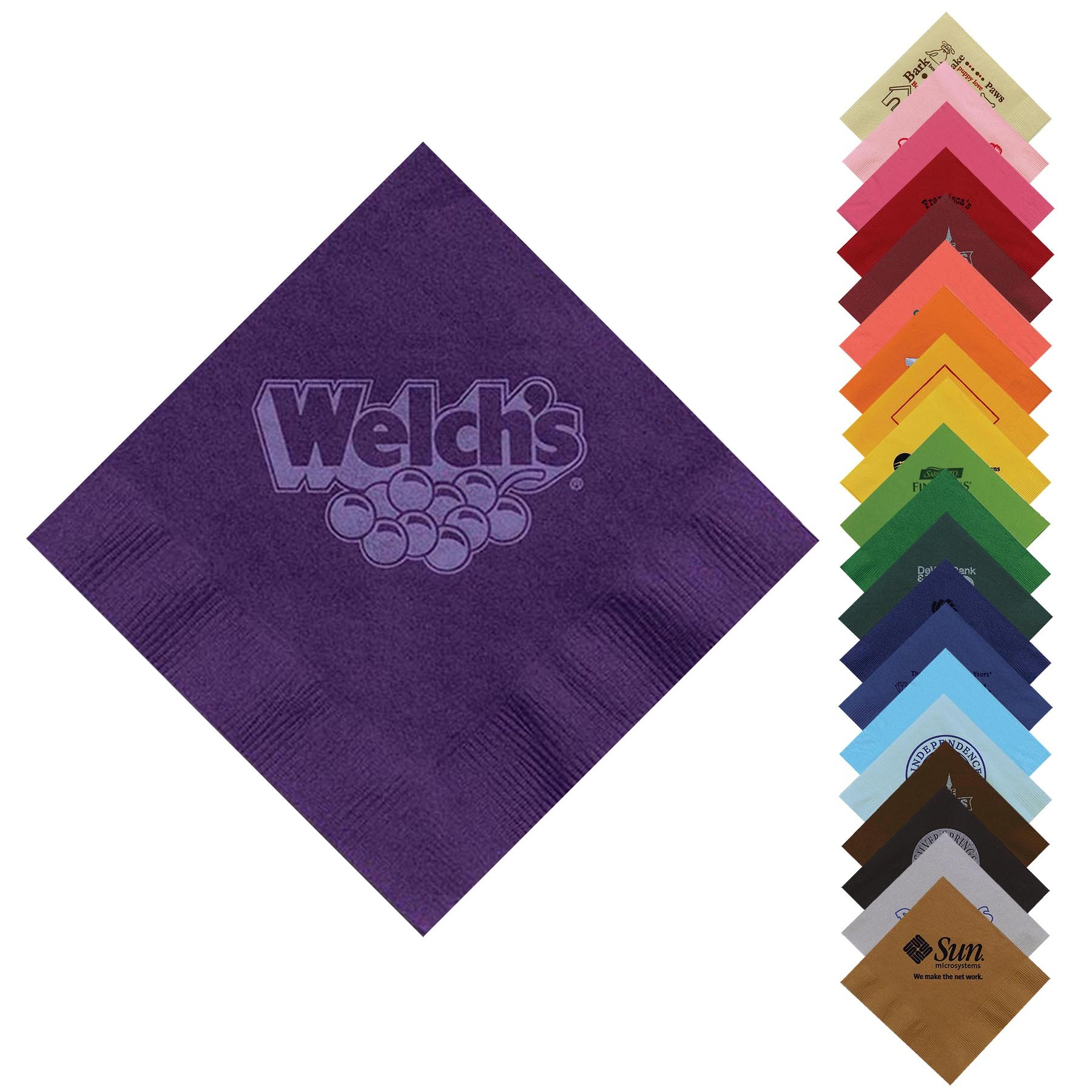 "5""x5"" Colored Cocktail Napkins - customizable with your logo"