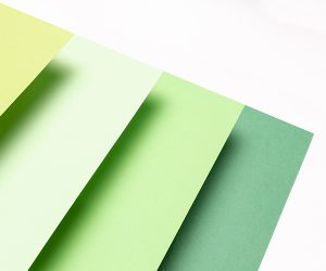 Close-up of colored paper used in kitting